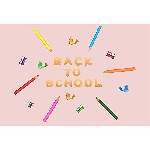 DORCEV 5x4ft Back to School Photography Backdrop Back to School Party Homecoming Student Party Background Colorful Pencil Recorder Welcome Theme Party Banner Student Photo Studio Props -