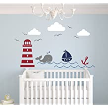 Nautical Theme Wall Decal - Nautical Decor - Nursery Wall Decal - Whale and Sailboat - Vinyl Baby Nursery Decor by Lovely Decals World