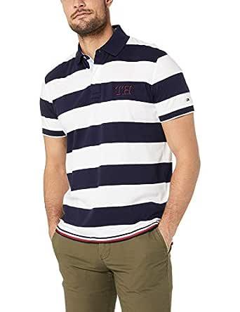 Tommy Hilfiger Men's Pure Cotton Signature Hem Polo, Maritime Blue/Bright White, XS