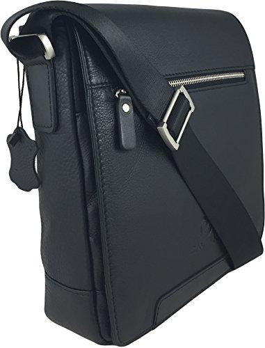 Zavelio da uomo in vera pelle piccolo Crossbody Satchel messenger bag Black
