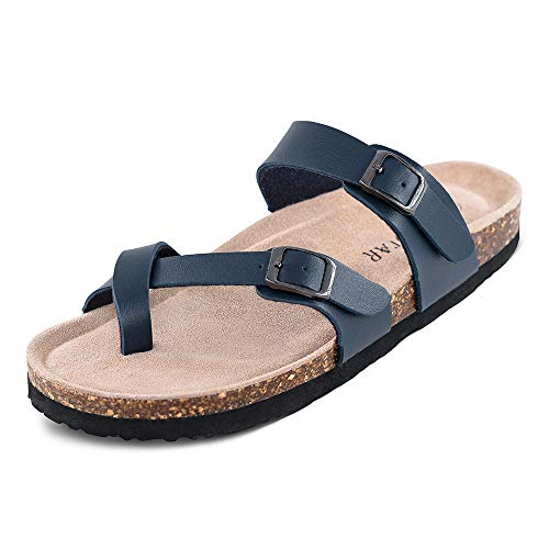 - TF STAR Adjustable Mayari Flat Leather Casual Sandals for Women & Ladies, Youth Suede Slide Cork Footbed for Teenagers/Girls (8B(M)(EU39), Navy)