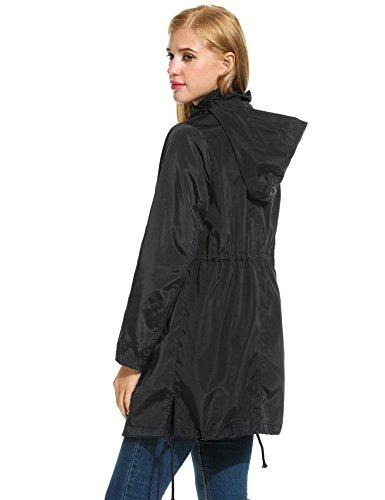 Manche Vent Blouson Casual Zip Capuche Noir Meaneor Long Imperméable Coup Femme Veste 8CXqOA