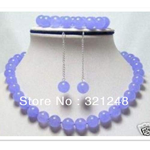 - Charms Violet Lavender Chalcedony Jades Chain   Strand Necklace Bracelet Earring Jewelry Set