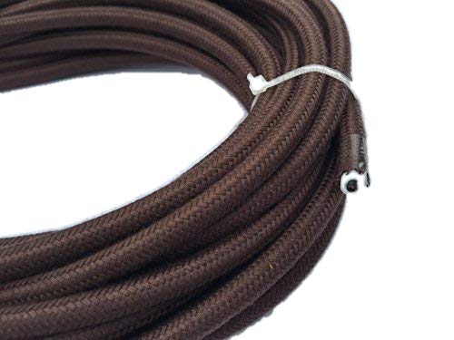 Cloth Covered Cord - Brown Round 18/2 Antique Cotton Covered Cord -Cloth Electrical Wire - 25' 18 Gauge Vintage Style Cord - by Industrial Rewind