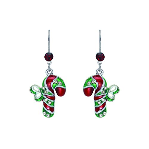 Candy Cane Christmas Holiday Presents Gift Theme Dangle Earrings with Gift Box