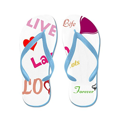 CafePress Live Laugh Love - Flip Flops, Funny Thong Sandals, Beach Sandals Caribbean Blue