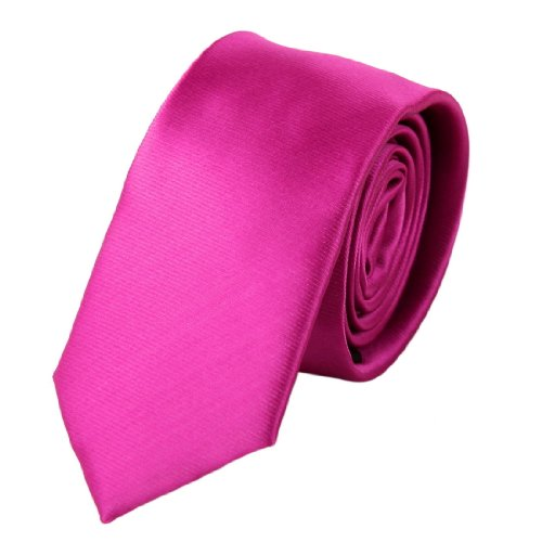 Pink Slim tie Matching Present Box Set Hot Pink gift dad PS1028 One Size Hot Pink - Hot Pink Necktie