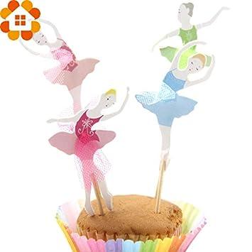 Gender Reveal Cake Decors Birthday 8pcs Set Dancing Girl Cake