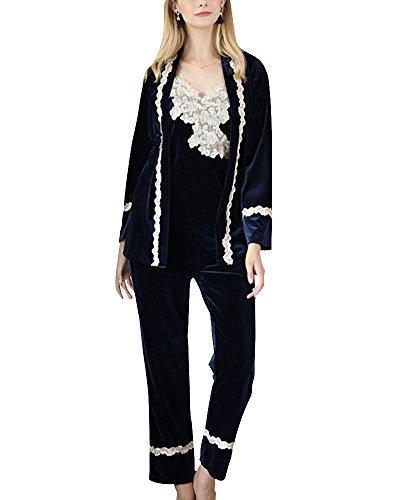 Stile Sleepwear Pezzi Maniche Pigiama Elegante 3 a Marina Classico Lunghe in 8wqA1xBZ