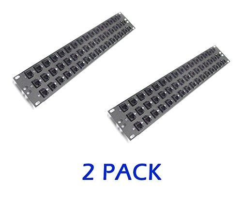 CAT5E Racksonic Loaded Patch Panel RJ45 Feed Thru 48 Port 2U FP48-RC5-L-SLIM 2 Pack