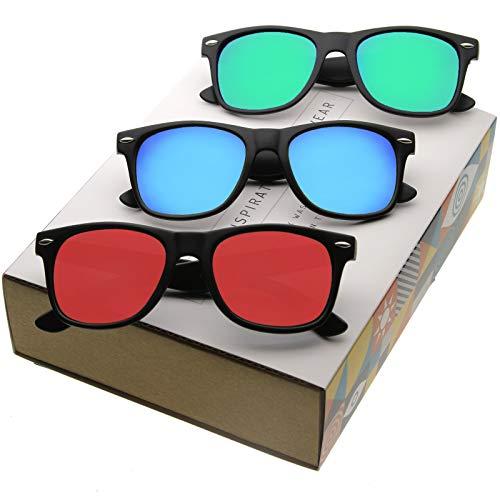 f714d28b44 zeroUV - Retro 80 s Classic Colored Mirror Lens Square Horn Rimmed  Sunglasses for Men Women (Gift 3 Pack