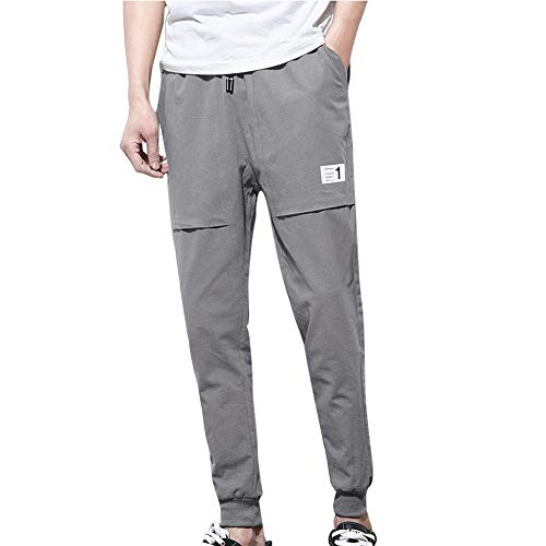 POHOK Clearance Pants for Men,Fashion Pure Color Trousers Baggy Pencil Pants Feet Casual Haren Pants]()