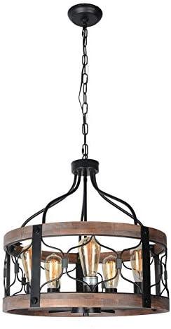 Beuhouz Round Farmhouse Rustic Chandelier Lighting, Black Metal and Wood Drum Pendant Light Fixture Industrial Dining Room Cage Chandelier Light 5 Lights Edison E26 8045