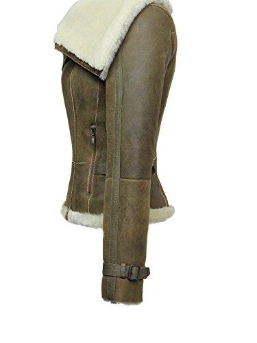 Brandslock Señoras Mujer Cortocircuito Vintage Estilo Biker Real Shearling piel de oveja aviador Merino Lana Collar Flying chaqueta de cuero con bolsillos con cremallera broncearse