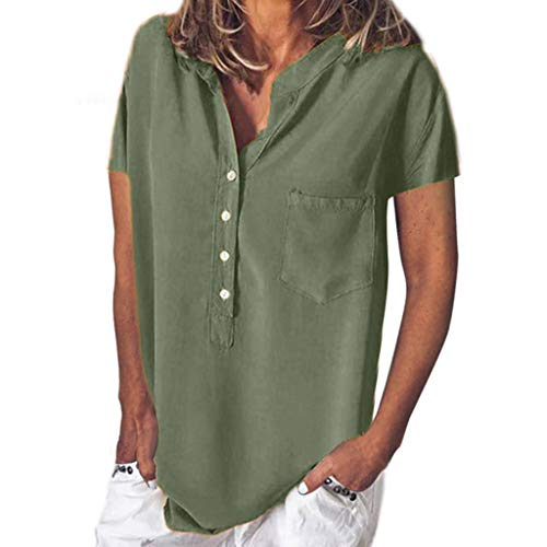 - FEDULK Womens Summer Casual Tee Tops Solid Color Button Up Short Sleeve Blouse T-Shirt with Pocket(Army Green, Large)