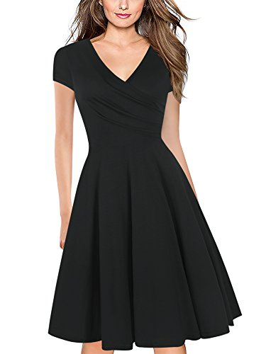 oxiuly Women's Criss-Cross Necklines V-Neck Cap Sleeve Floral Casual Work Stretch Swing Summer Dress OX233 (XL, Black Solid)