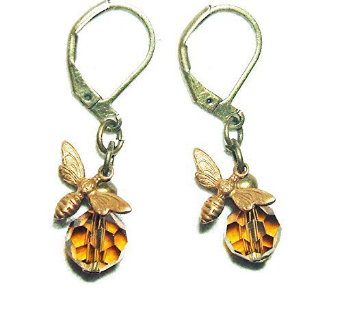 BEE EARRINGS Honey Amber Crystal GLASS Drop Dangles SAVE THE BEES Amber Crystal Ring