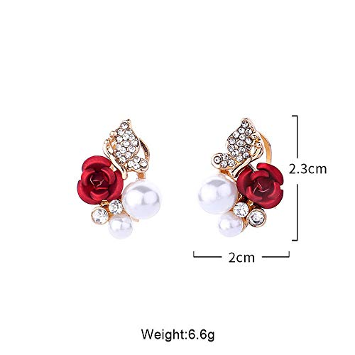 ❤Ywoow❤ Female Earrings, 1 Pair Red Rose Flower Imitation Pearl Plated Crystal Stud Earring by ❤Ywoow❤ (Image #4)