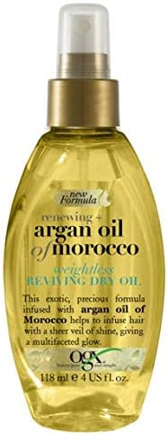 Oferta amazon: OGX Aceite de Argán de Marruecos, aceite seco ligero revitalizador, aceite, pelo radiante, sedoso, suave, brillante, antiencrespamiento - 118 ml (2725000)