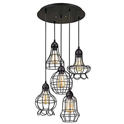 Creative-Decoration Modern Industrial Chandelier 5 Light Multi-Shade Cage Ceiling Light Pendant Lighting Fixture 5-Heads Metal Shade Set Black Finish Retro - LM9720