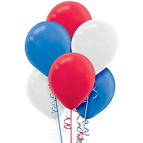 Red, White and Blue Latex Party Balloons, 12