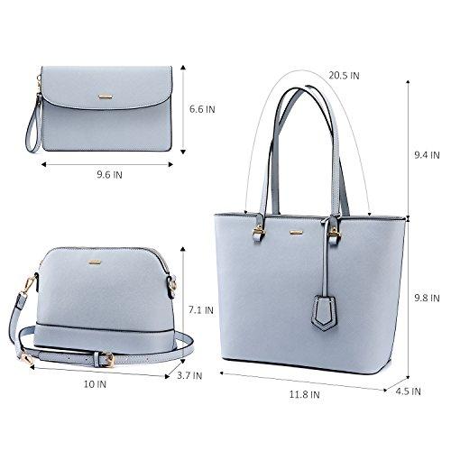 Set Women Top Pale 3PCS Handbags Tote Purse Bag Blue for Bag Handle Satchel Shoulder vxnAqwB5