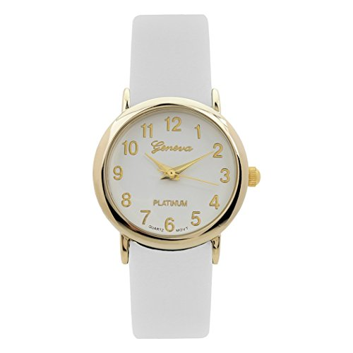 Rosemarie Collections Women's Leather Band Geneva Fashion Watch - Web Macys