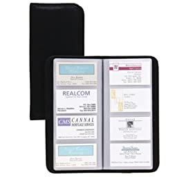 Samsill 80850 Sterling Vinyl Business Card Book Holds 160 2 x 3 1/2 Cards, Black
