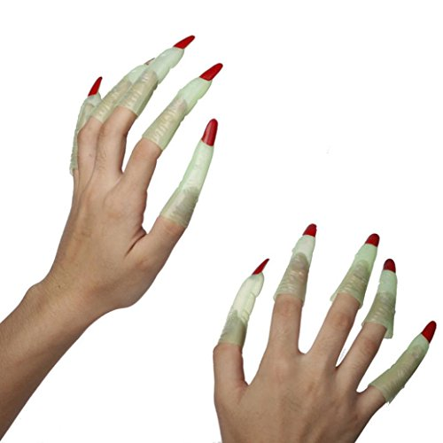 KingWo Halloween Party Show Supplies Plastic Funny Set Witch Nails Finger Zombie -