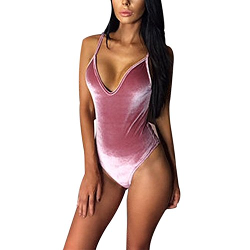 EFINNY Women's Velvet Deep V Neck Stretch Bodysuit Leotard Top Jumpsuit Swimwear 41C78 KXu 2BL