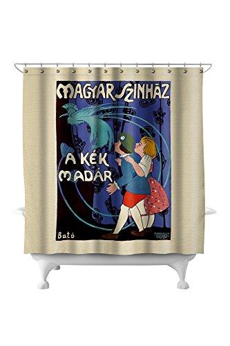 Magyar Szinhaz Vintage Poster (artist: Bato, Jozsef) Hungaria c. 1915 (71x74 Polyester Shower Curtain) Bato Lanterns
