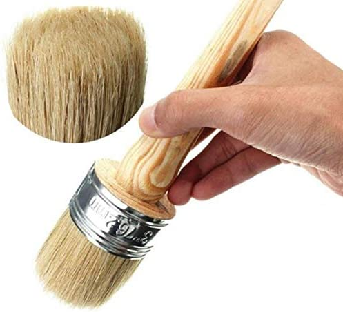 40mm Diameter Round Wooden Bristles Wax Chalk Paint Brush with for Car Furniture Home Decor Painting Coating Cleaning Wash 1PCS 1.5Inch