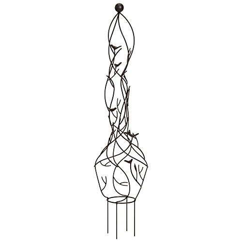 - Best Choice Products Garden Obelisk Metal Trellis w/Branches, Birds, Spiked Support Legs for Climbing Plants - Bronze
