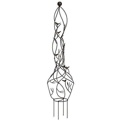 Best Choice Products 39in Garden Obelisk Metal Trellis w/Branches, Birds, Spiked Support Legs for Lawn, Garden, Backyard, Climbing Plants - Bronze