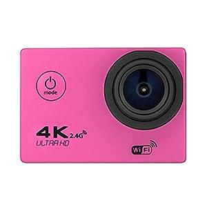 4K HD DV 16MP Sports Action Camera (Pink) - Wi-Fi + Wrist RF + 170° Wide Angle Lens + Waterproof Case & Backdoor + Bike Mount + Chest & Head Strap + Monopod/Selfie + Deluxe Valued Accessory Bundle