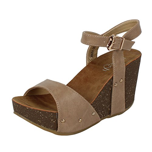 Front Foot - Refresh Mara-06 Womens Ankle Strap Platform Wedge Sandals Taupe PU 7