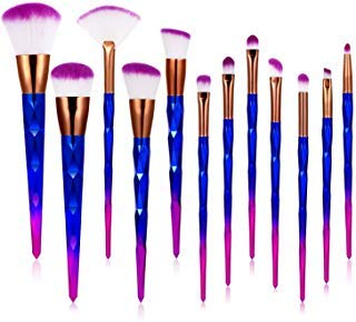 Makeup Brushes Premium Synthetic Foundation Brush Blending Face Powder Blush Concealers Eye ShadowsMake Up Brushes Kit,12Pcs (Blue)