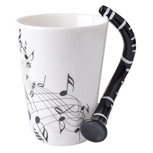 Novelty Clarinet Handle Music Mug Unique Art Musical Notes Holds Tea Coffee Milk Ceramic Mug Cup 300ml Best Gift,Black