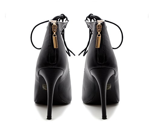 Zip Black Faux STYLES Cut Strappy Leather Up Ladies Lace Ankle Women Out High SAUTE Heel Sandals f0TqH0