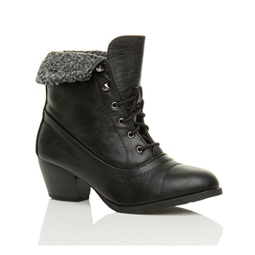Style Heel Pixie Cuban Chunky Womens Black Size Fur Lace Ladies Cuff Boots Ankle up Shoes Block Vintage mid wvXXE7qx1