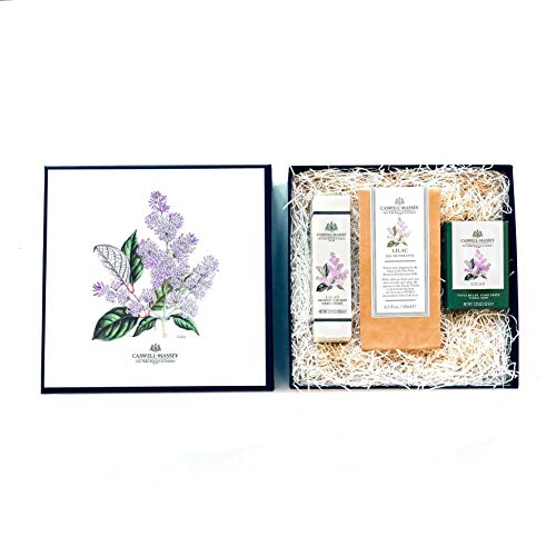 Caswell-Massey Lilac Gift Set with Plant Based Eau de Toilette Perfume, Hand Cream and Triple Milled Soap - NYBG Collection Luxury Set – Made In USA