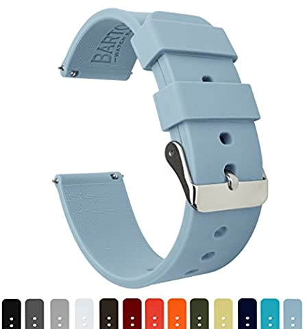 BARTON Quick Release - Choose Color & Width (16mm, 18mm, 20mm, 22mm) - Soft Blue 20mm Watch Band - Chrono Classic Ladies Watch