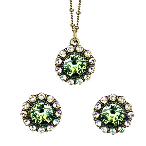 Anne Koplik Antique Light Green Mix Swarovski Crystal Mila Pendant Necklace and Earrings Set