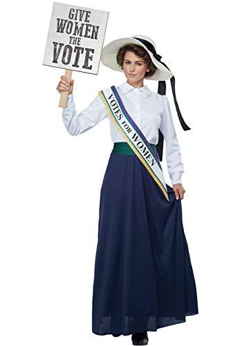 Edwardian Skirt - California Costumes Women's American Suffragette - Adult Costume Adult Costume, -White/Navy, Small