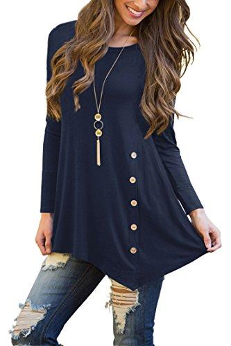 VIISHOW Women's Button Long Sleeve Tunic Top Blouse Navy Blue (Women Tunic Tops)