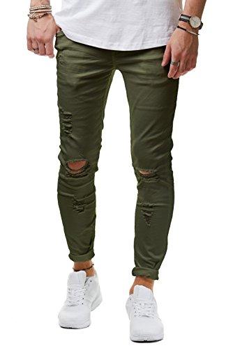 EightyFive Herren Jeans Denim Hose Slim Fit Destroyed Zerrissen Schwarz Weiß EF1512, Farbe:Khaki;Hosengröße:W32 L32