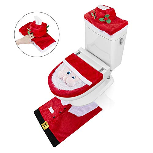 GIM Christmas Decorations Happy Santa Toilet Seat Cover and Rug Set for Bathroom (Santa Claus)