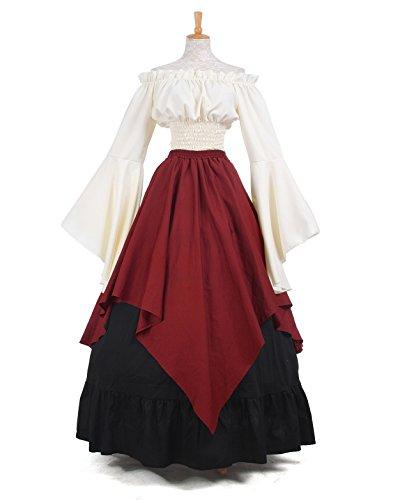 Women Medieval Dress Gothic Victorian Fancy Dresses (XX-Large, White&Wine Red) (Fancy Dress Size 20)