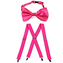 HDE Men's X Back Clip Braces and Bowtie Set for Prom Tuxedo Wedding Party (Hot Pink)