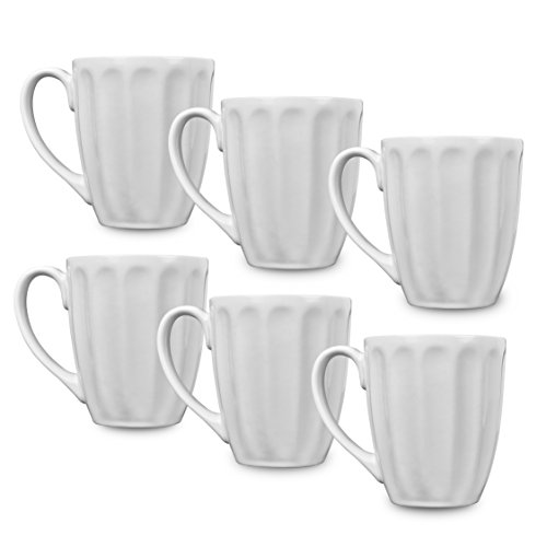 Klikel 6 White Fluted Mugs | 14oz Solid Flat Bottom Porcelain Dinnerware | Ceramic Mug Set | Coffee Tea Hot Cups | Lead Free ()